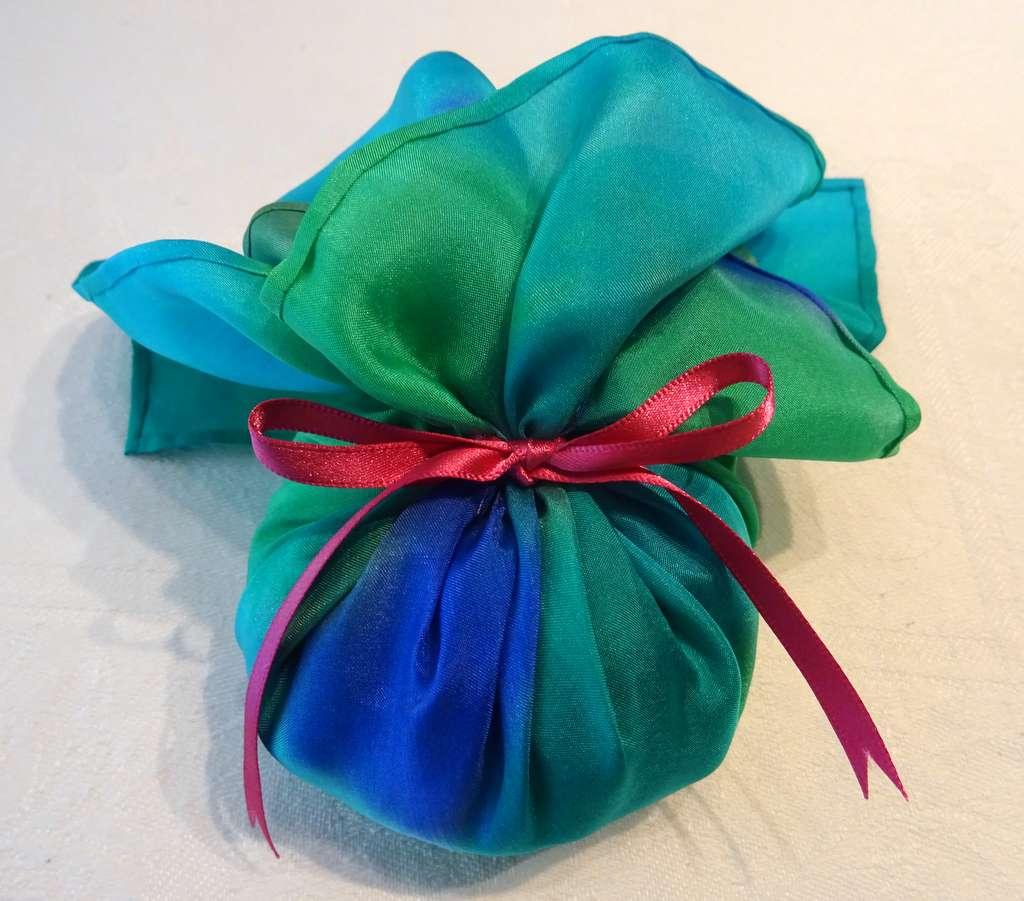 Greens and Blues with Majenta Pink Ribbon