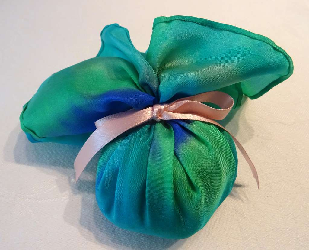 Greens and Blues with Pale Pink Ribbon