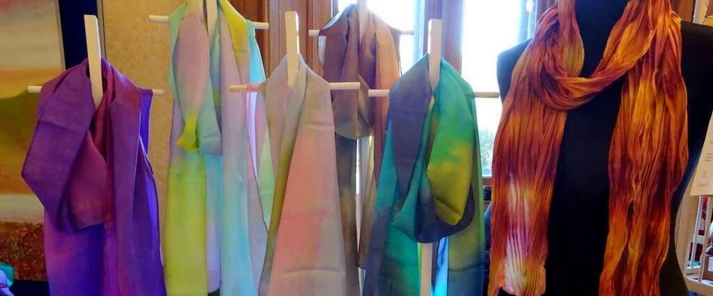 Hue and Dye - scarves-painted silk-M Wilmot