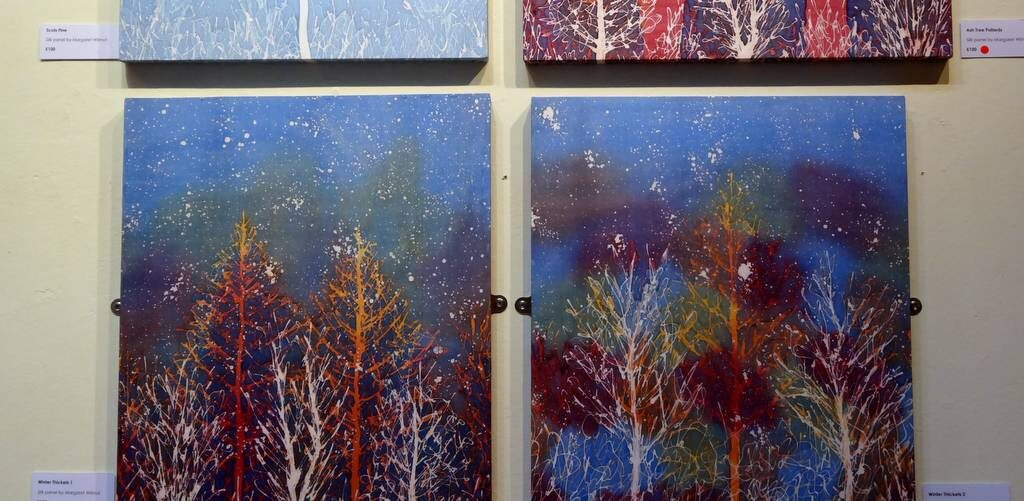 Hue and Dye - wall panels 2-Margaret Wilmot painted silk artist