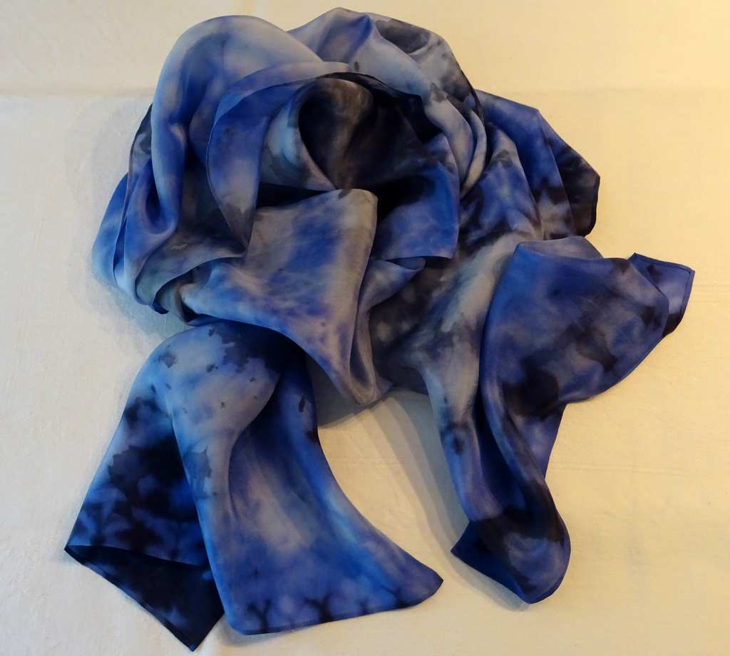 `Marine` (Shibori Technique Silver and sea blues)