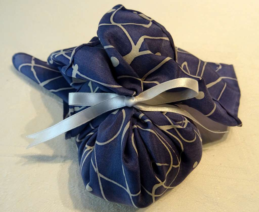 Navy and White Pattern with White Ribbon