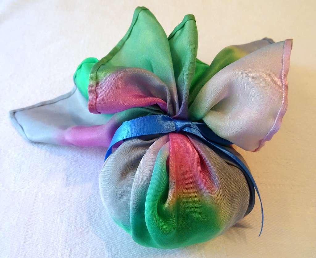 Pinks, Greens and Silver with Blue Ribbon