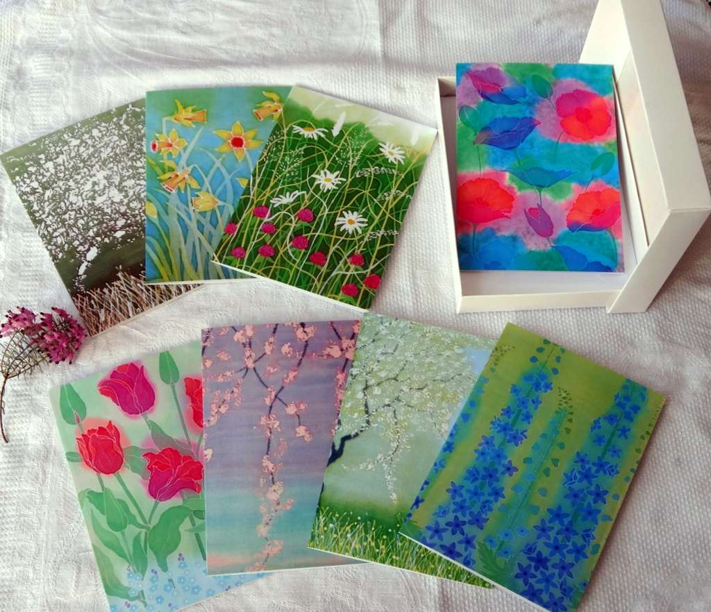 Artists Greeting Cards set, 8 cards and envelopes, Floral Theme £12.00