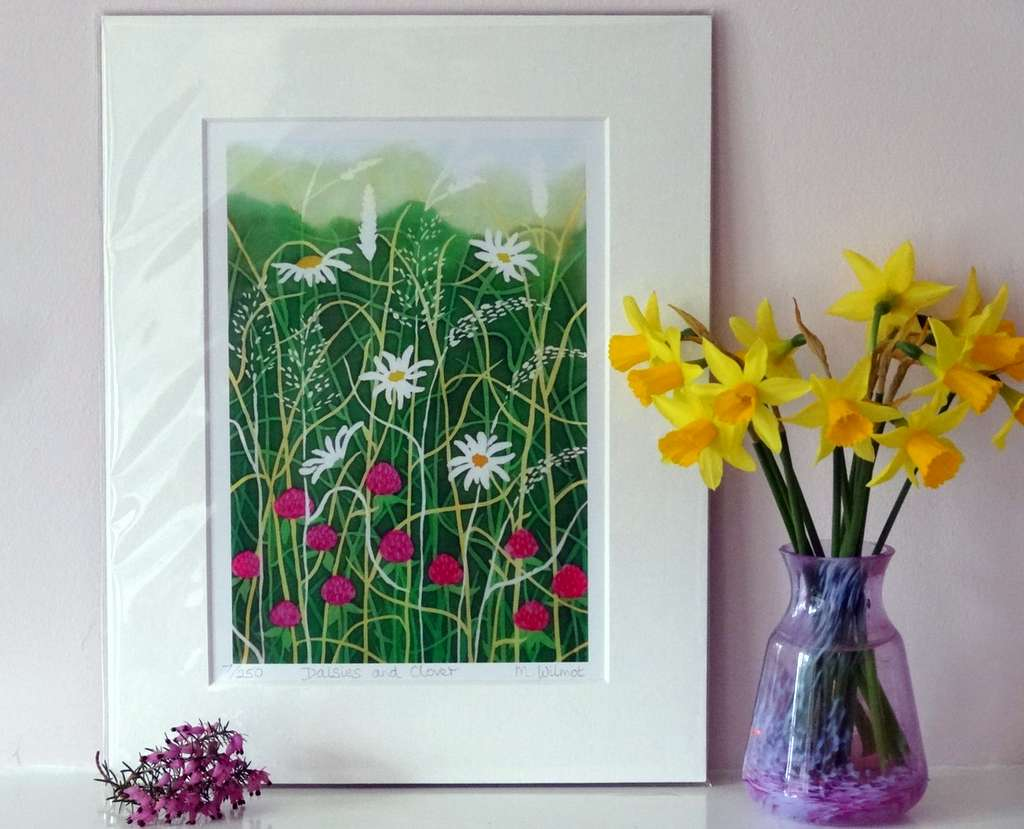 Daisies and Clover, signed limited edition print, from an original silk painting, 22 x 28 cm