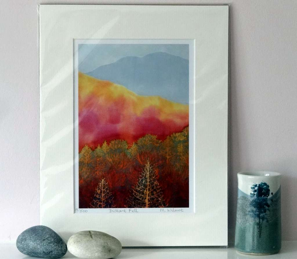 Distant Fell, signed limited edition print, from an original silk painting, 22 x 28 cm