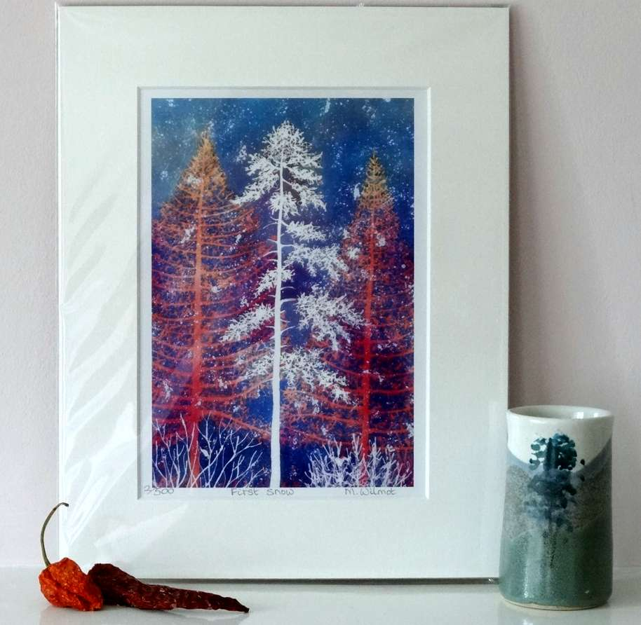 First Snow, signed limited edition print, from an original silk painting, 22 x 28 cm