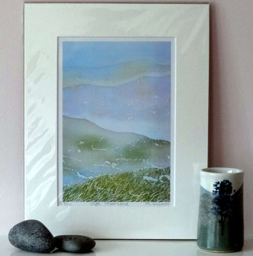 High Moorland, signed limited edition print, from an original silk painting, 22 x 28 cm