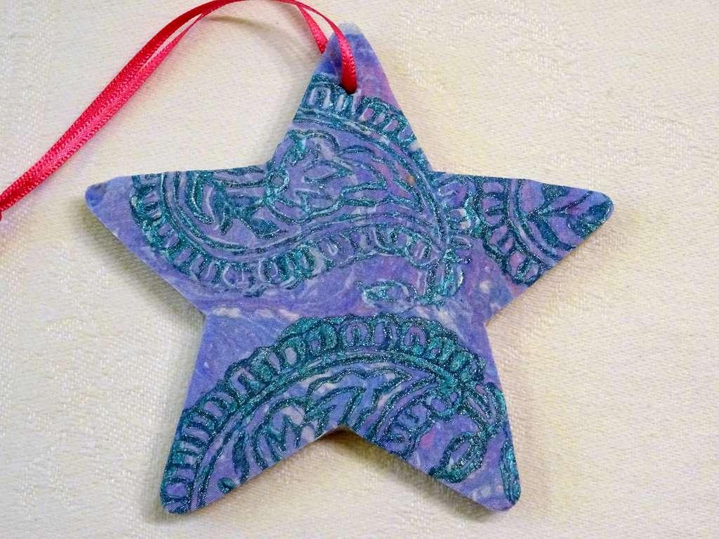 SD01 Metalic Jade Block-printed design on lavender marbled silk. Pink Ribbon