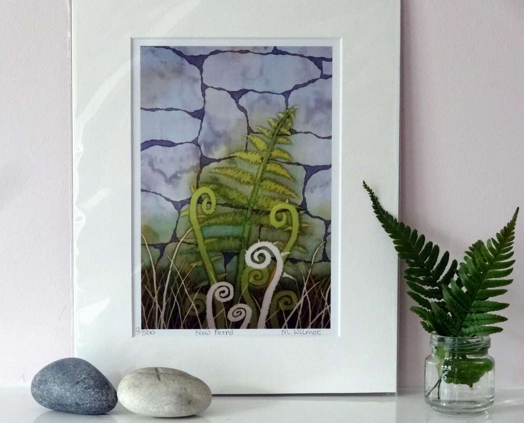 New Ferns, signed limited edition print, from an original silk painting, 22 x 28 cm