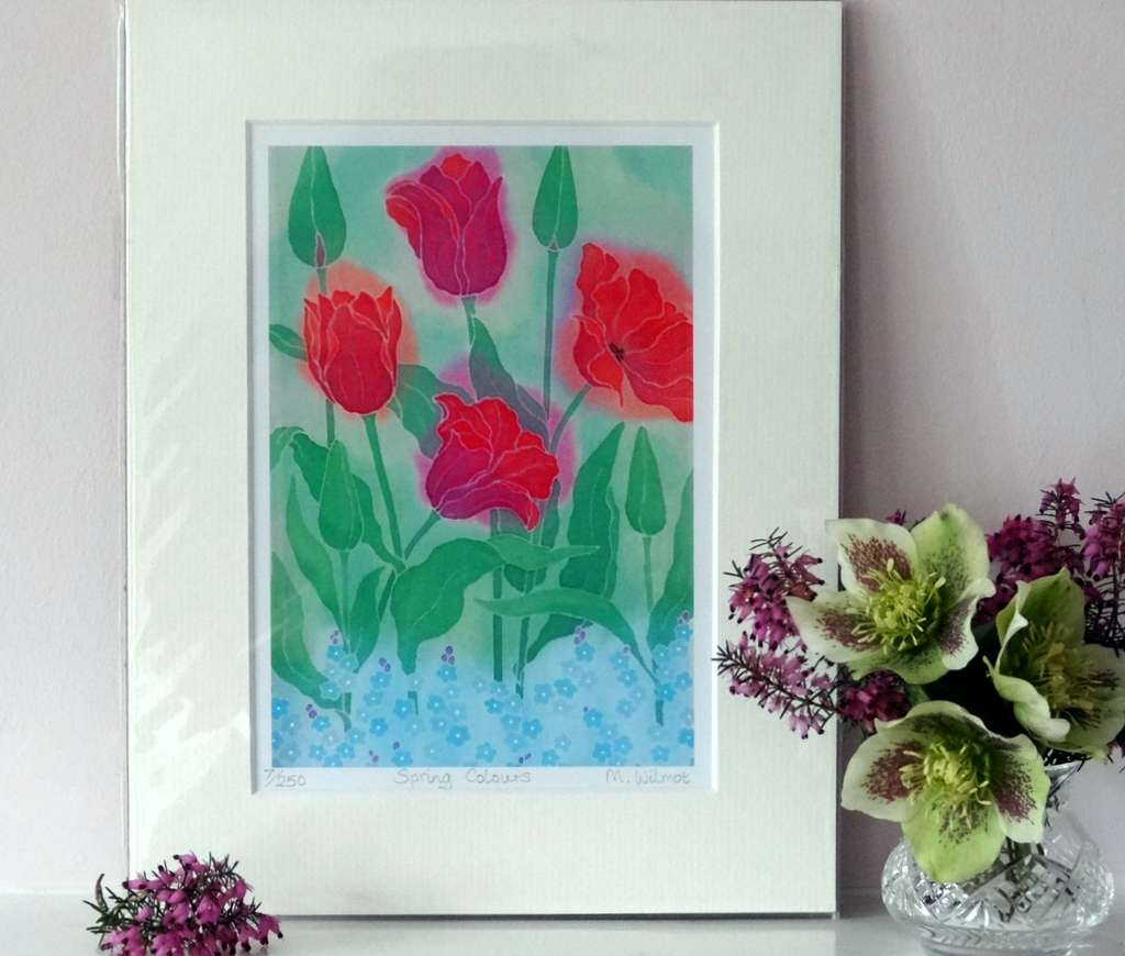 Spring Colours, signed limited edition print, from an original silk painting, 22 x 28 cm