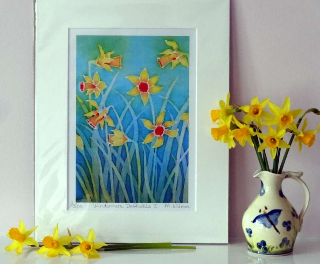 Windermere Daffodils 1, signed limited edition print, from an original silk painting, 22 x 28 cm.