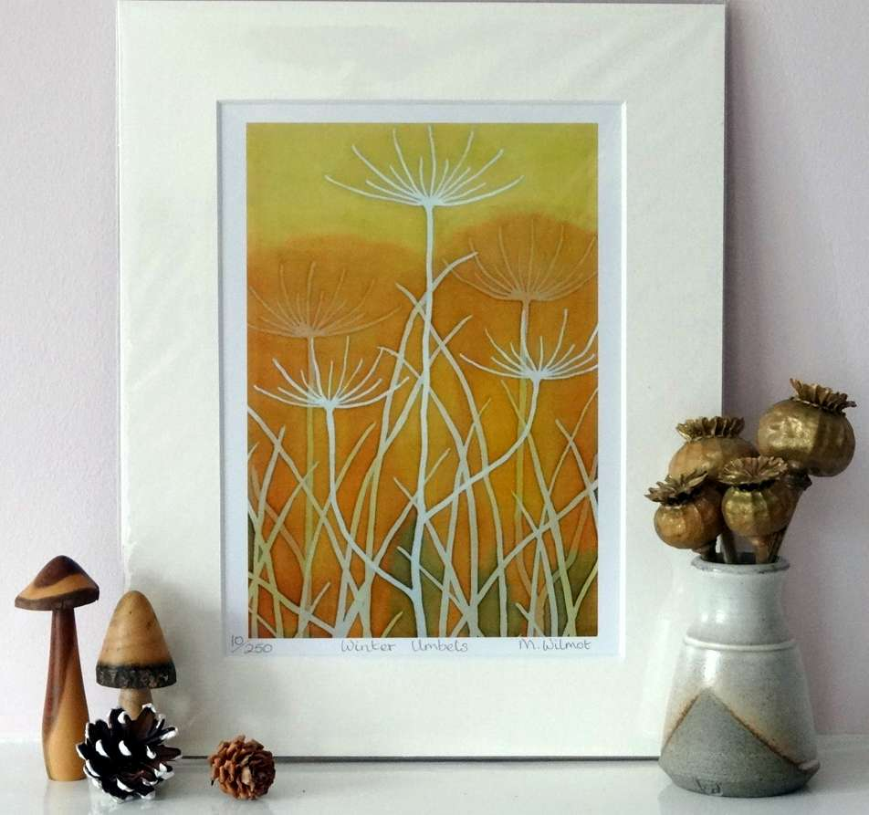 Winter Umbels, signed limited edition print, from an original silk painting, 22 x 28 cm
