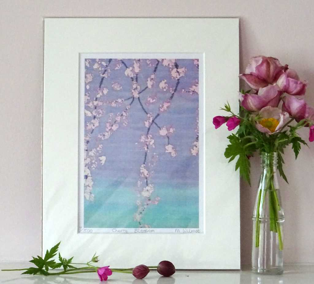 DP06 Cherry Blossom Signed Limited Edition Print from an original silk painting, 22 x 28cm